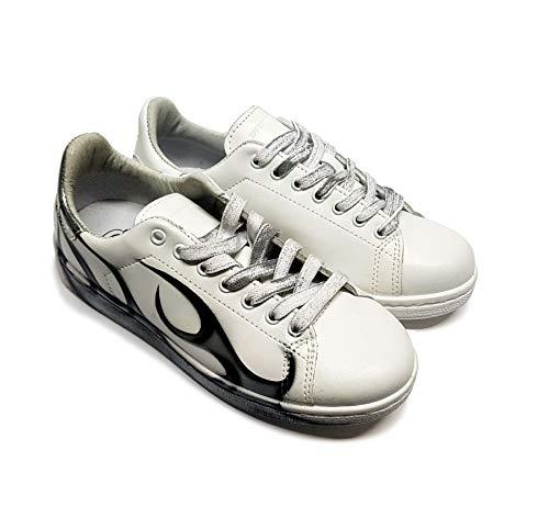 Zapatillas de Mujer de Cuero Blanco Pintadas a Mano con Parche Trasero Diferenciado (Made in Italy, Ediciòn Limitada) 37 EU