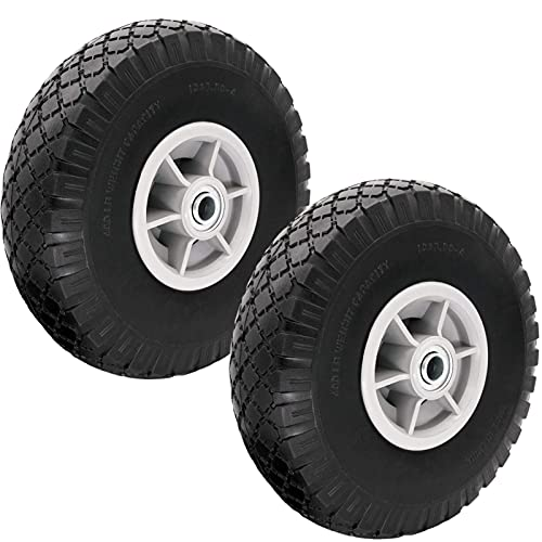 10' Flat Free Solid Tire Wheel,LIYYOO Flat Free Solid Rubber Replacement Tire for Garden Utility...