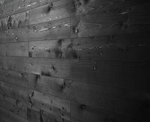 WoodyWalls Peel and Stick Wood Planks | Real Wood Wall Panels | Premium Set of 12 Wood Planks (19.5 sq. ft. per Box) Charcoal (Black)