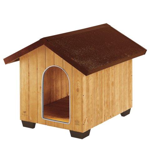 Ferplast Outdoor-hondenhoed, milieuvriendelijk hout, voeten van kunststof voor isolatie van de vloer, ventilatierooster, deur met beetbeschermingsrand van aluminium, Large