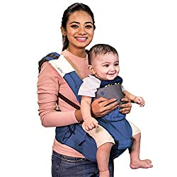 Polka Tots Ergonomic Baby Hip Seat / 6 in 1 Baby Carrier with Airbag Seat and Adjustable Waist and Excellent Lumbar Support, Highly Suitable for C Section Mothers (Blue),POLKA TOTS,HSBF300