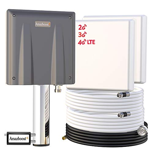 Signal Booster for Cell Phone-Up to 6000-8,000 sq ft,Amazboost Antenna AT&T Verizon T-Mobile Sprint All U. S. Cellular 4G LTE 3G 2G Cell Booster for Home Office Building Warehouse