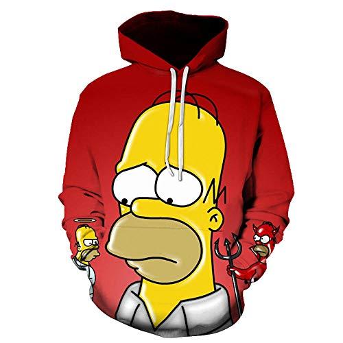 Hoodies Unisex Trui, Simpson Hoodie 3D Farbdruck Sweatshirt, Langarm Sweatshirt