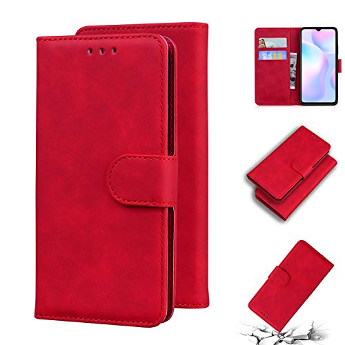 LODROC Xiaomi Redmi 9A Hülle, TPU Lederhülle Magnetische Schutzhülle [Kartenfach] [Standfunktion], Stoßfeste Tasche Kompatibel für Xiaomi Redmi 9A - LOTX0100756 Rot
