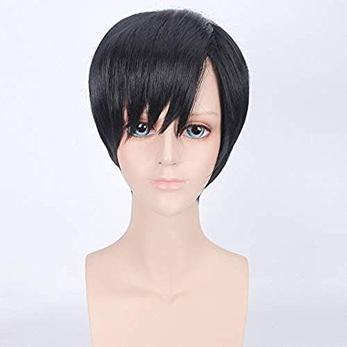 Peluca de pelo sintético de fibra de alta temperatura para hombre, de Attack on Titan Eren Jaeger, disfraz de avatar del rey, peluca de cosplay + gorra de peluca 3-1