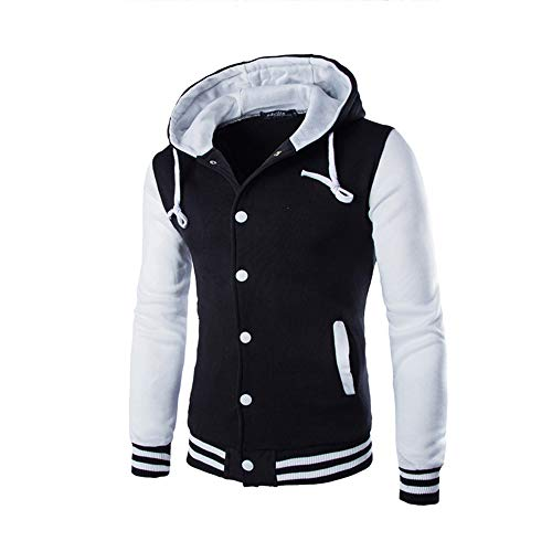 JiaMeng Hombres Chaqueta Primavera otoño e Invierno Algodón Abrigo Chaqueta Outwear Sweater Sudadera de Invierno Slim Warm(Blanco,M)