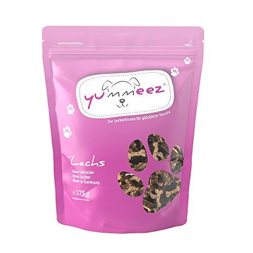 Yummeez Lachs Leckerli - Hundeleckerli als kleine Knöchelchen - getreidefrei mit hohem Fleischanteil - perfektes Leckerchen für Training oder Belohnung (1 x 175 g)