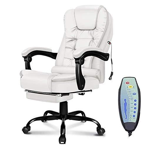 AIMCAE Sedia da Ufficio per Massaggi Sedia Girevole ergonomica ergonomica riscaldata con Schienale Alto, Comoda e allevia la Fatica,Bianca