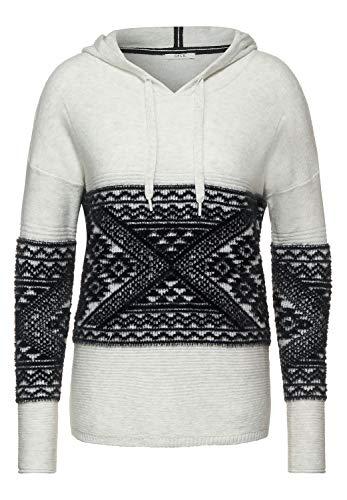 Cecil Damen Hoodie-Pullover mit Muster Off White Melange L