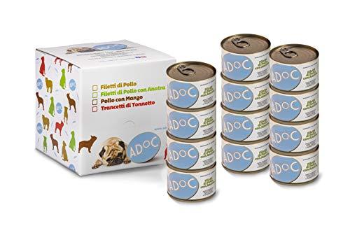 Adoc Cibo Umido per Cani con Ingredienti Naturali al 100% al Pollo con Anatra - Pacco da 12 Lattine da 170 Gr