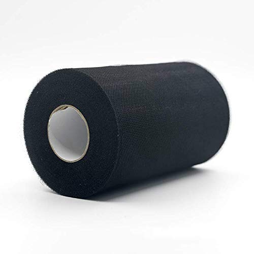 WILLBAN Tulle Roll 100 Yards Organza Wedding Decoration TUTU Baby Shower Tulle Roll 15cm Decoration Party And Events Engagement Decor (Black)