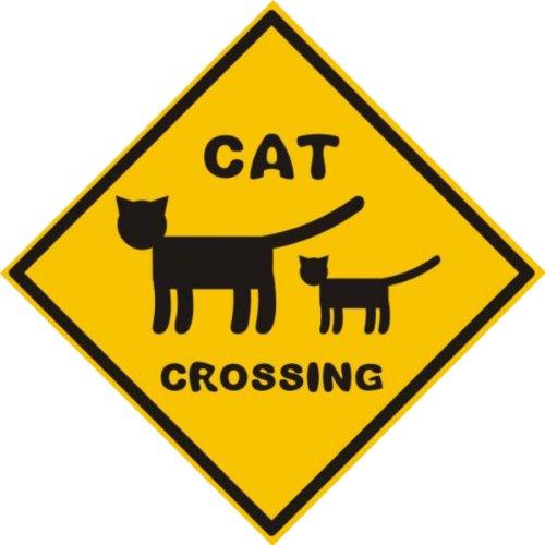 Michael & Rene Pflüger Barmstedt 8,4 x 8,4 cm Autoaufkleber Vorsicht Katze Cat Crossing Warn Aufkleber Sticker fürs Auto Motorrad