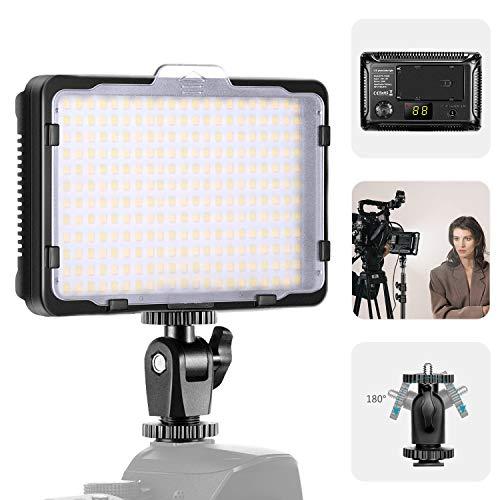Neewer Versión 176S Mejorada 264 Luces Video LED con Cuentas LED SMD Panel Luz LED Regulable para Videocámara con Cámara DSLR 3200K-5600K Bicolor Filtro Blanco y Pantalla LCD (Batería No Incluida)