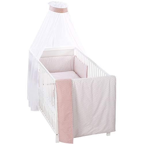Alvi Bettset Himmelset für Kinderbett Raute rosa 100x135 cm 410149442