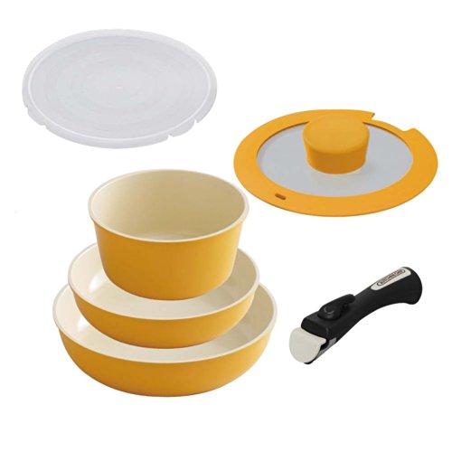 アイリスオーヤマ フライパン 鍋 6点セット ガス火/IH対応 軽量 時短調理 お手入れ簡単 取っ手のとれる セラミックカラーパン オレンジ H-CC-SE6