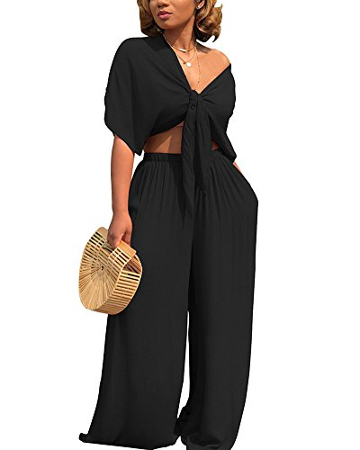 Aro Lora Women's 2 Piece Outfit Jumpsuit Short Sleeve V Neck Tie up Crop Top Wide Leg Pant Set Romper XX-Large Black