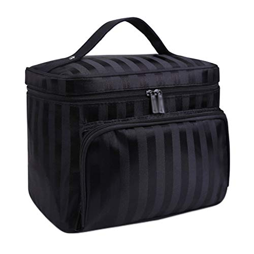 Sac de Stockage cosmétique Lavable de Sac de Stockage de Voyage de Sac de Lavage portatif de Grande capacité de Tissu d'Oxford imperméable (Color : Black, Taille : 22 * 16 * 17cm)