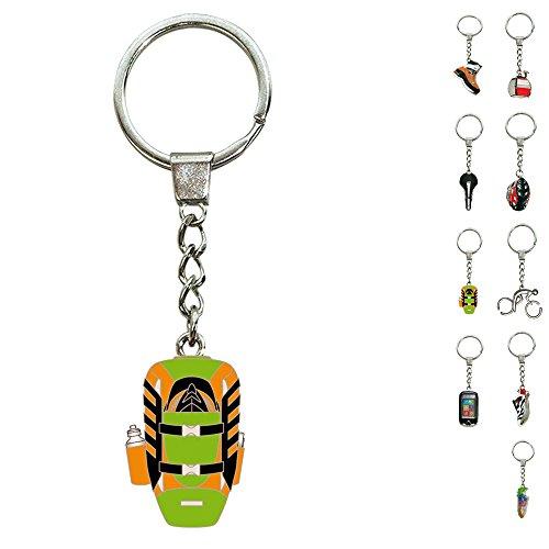 ebos Schlüsselanhänger ✓ aus Metall ✓ Accessoire | fob Key | Sport | Sportarten | Wandern | (Rucksack/orange-grün)
