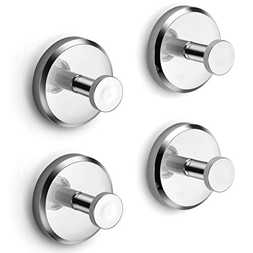 HOME SO Suction Cup Hooks for Shower Bathroom Kitchen Glass Door Mirror Tile - Loofah Towel Coat Bath Robe Hook Holder for Hanging up to 15 lbs - Waterproof Rustproof Chrome 4-Pack