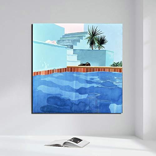 No frame Zwembad David Hockney Canvas Schilderij Posters Prints Marmeren Muur Schilderkunst Decoratieve Foto Moderne Woondecoratie 50x50cm