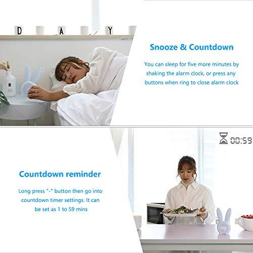 yidenguk Lapin mignon réveil, Réveil numérique LED à commande vocale avec Lumière de Respiration, Affichage Automatique Temps/Date/Température, Fonction Snooze, 6 sons forts, Veilleuse minutée, Bleu