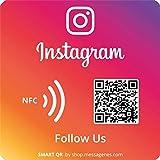 1x Pegatina Síguenos Instagram con Smart QR y NFC - Cuadrada   Aumenta seguidores en 1 clic   QR's reutilizables siempre que quieras   Ideal para escaparate, pared o ventana