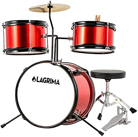 Los Angeles Mall Metallic Red 3 Piece Kids Drum Pedal Drumstic with favorite Cymbal Set