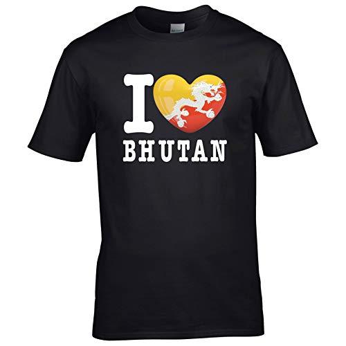 FanShirts4u Kinder T-Shirt - I Love Bhutan - WM Trikot Liebe Herz Heart (9/11 Jahre 134-146 cm, I Love Bhutan - Schwarz)