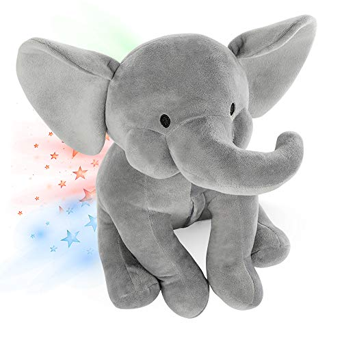 Elefant Kuscheltier Led Sternenhimmel Projektor für Kinder, Baby Nachtlicht Elefant Plüschelefant Sternenlicht - INNObeta Elphy Grau