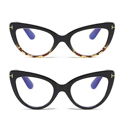 MMOWW - Confezione da 2 Occhiali da Lettura con Occhio di Gatto, Comodi e Alla Moda Grande Cat Eye (Nero+Tartaruga, +1.5)