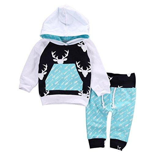 Hirolan Baby Strampler Neugeboren Babykleidung Säugling Baby Junge Mädchen Hirsch Pfeil Kapuzenpullover Lange Hülse Tops Täglich Hose Mode Outfits Kleider Set (70cm, Blau)