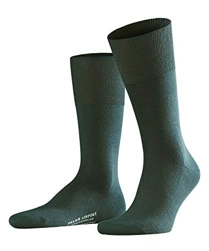 FALKE Herren Socken Airport - Merinowoll-/Baumwollmischung, 1 Paar, Grün (Marble 7991), 43-44