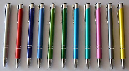 Magic Metall-Kugelschreiber-Set, 10 Stück + 1 gratis, Großraum-Mine blau