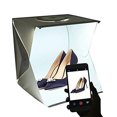 Estudio de Fotografía Mini portátil Gleading 40x40x40cm Carpa Luminosa Lightroom con luz LED. Kit de Caja de luz: Carpa Plegable + Dos Fondos (Blanco y Negro)