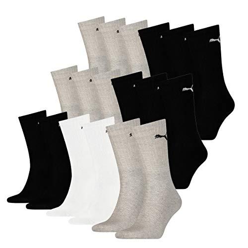 PUMA 18 Paar Socken Cush Crew Sportsocken Tennis Socken Unisex, Socken & Strümpfe:43-46, Farbe:415 - White/Black/Grey
