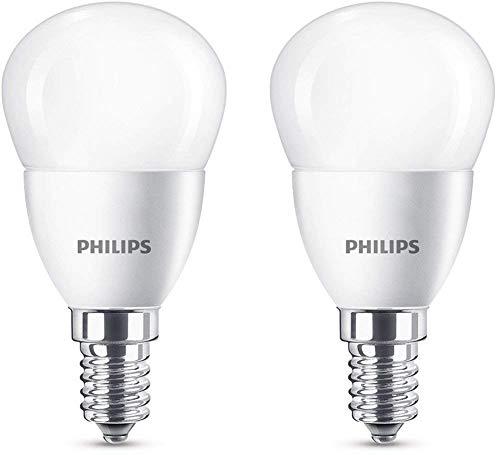Philips bombilla LED esférica mate casquillo fino E14, 5.5 W equivalentes a 40 W en incandescencia, 520 lúmenes, luz blanca fría