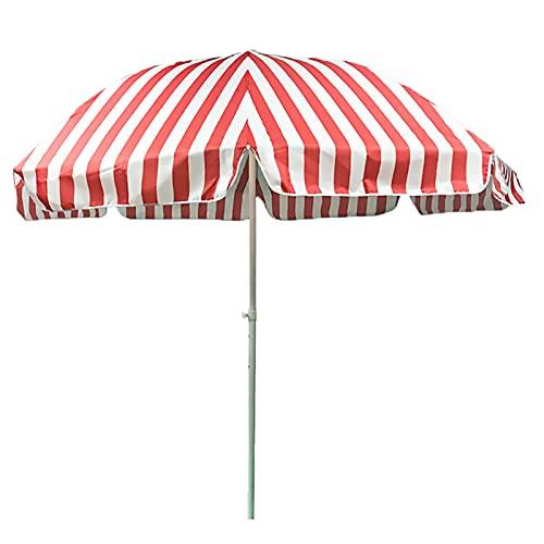 ZJM Sombrillas para Patio 7.2 pies Sombrilla de Patio a Rayas, Sombrilla de Playa al Aire Libre Paraguas de Rayas de Mercado con 3-Capa a Prueba de Viento Costillas, Paño Oxford (Color : Red+White)