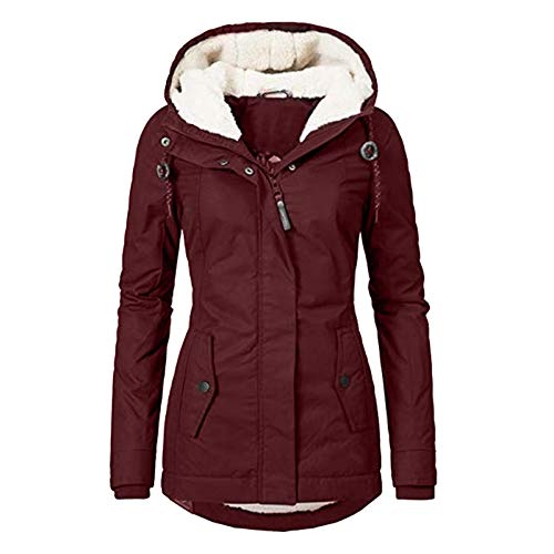 Lingding damen wintermantel winterparka mit fellkapuze elegant warm gefã¼ttert dick slim lang winter parka kapuze mode solid damen coat mantel waschbar jacke