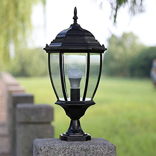 HYYK Classic E27 Column Light Fence Courtyard Lawn Lamp European Outdoor Waterproof IP54 Exterior Wall Pillar Lantern Garden Landscape Lighting Open Air Die-cast Aluminum Post Bollard