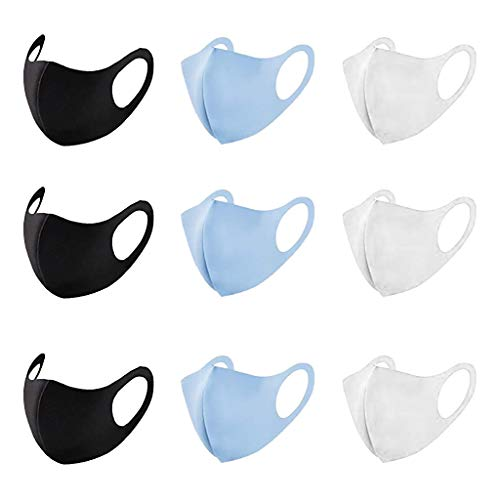 Reusable Washable Face Cover Unisex – Air Layer Easy Organic Cloth Fabric – Breathable Half Bandana Handmade for Outdoor Activities – 9 Pack of Face Covers Black Blue and White