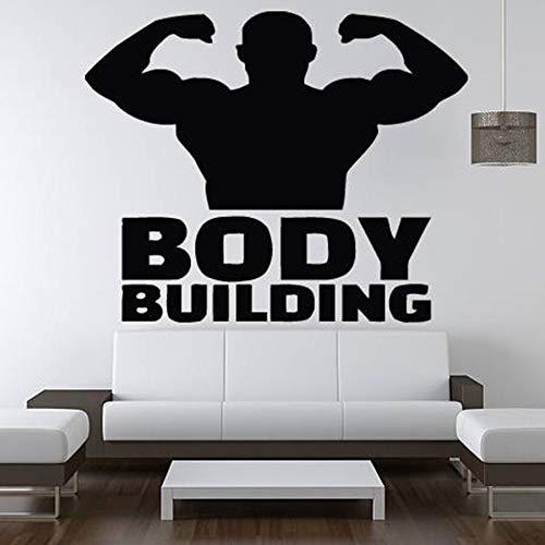 Culturismo tatuajes de pared sala de estar dormitorio decoración del hogar ejercicio gimnasio vinilo pegatinas de pared fitness deportes gente mural