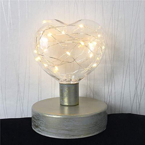 MCYYY Lámpara de mesa de metal de estilo retro creativo Linterna de alambre de cobre Bola de amor Lámpara de mesita de modelado de diamantes Mesa de hogar Decoración de arteTipo deiluminaciónB