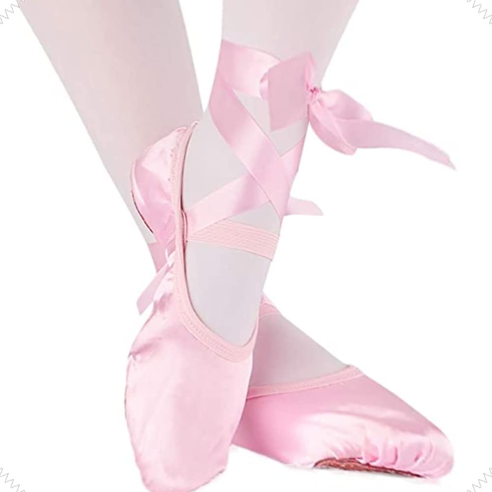 Girls Women Ballet Pointe Shoes Professional Pink Satin Dance Shoes with Stitched Elastic Straps