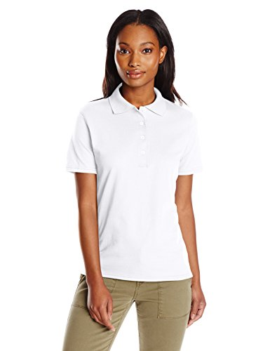 Hanes womens X-Temp Performance Polo Shirt,White,X-Large