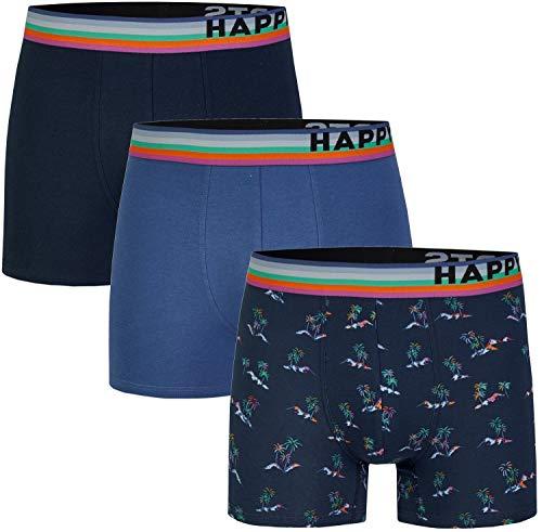 Happy Shorts 3 stuks jersey boxershort voor heren, grappige designs, modieuze eilands eilanden.