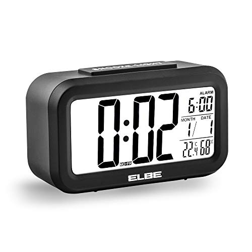 Elbe RD-668-N Reloj despertador con termómetro, adecuado para viajar, display LCD 4,4'', función snooze, pantalla con luz, alarma, temperatura y humedad, color negro