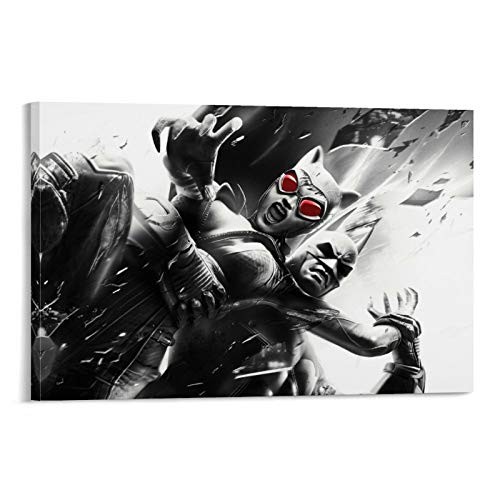 SSKJTC Bathroom Wall Home Decoration Art Prints Batman Poster and Catwoman Arkham City Painting Living Room Display 12x18inch(30x45cm)