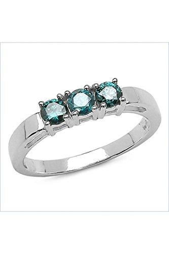 Silvancé - Anello da Donna - argento sterling 925 placcati al rodio - vera gemma: Diamante blu - R4000BLD51_SSR_18
