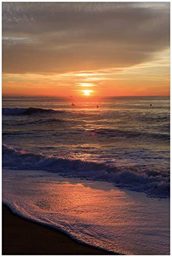 Wallario Glasbild Sonne über dem Meer - 60 x 90 cm in Premium-Qualität: Brillante Farben, freischwebende Optik