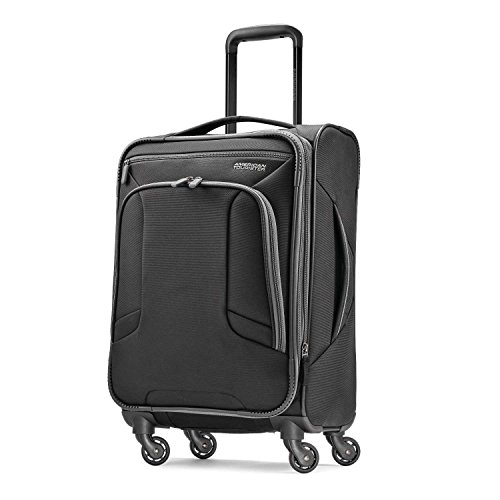 American Tourister 4 Kix Expandable Softside Luggage with Spinner Wheels, Black/Grey, Carry-On 21-Inch,92450-1062